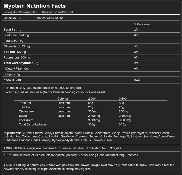 Myotein Supplement Facts