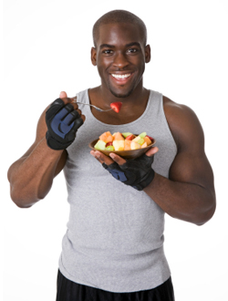 Bodybuilder with Fresh Fruit
